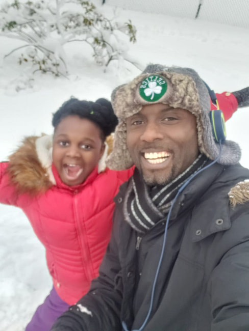 Daniel Amankwah with his daughter