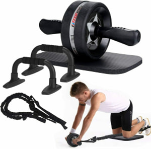 EnterSports Ab Roller Wheel, 6-in-1 Ab Roller Kit with Knee Pad, Resistance Bands