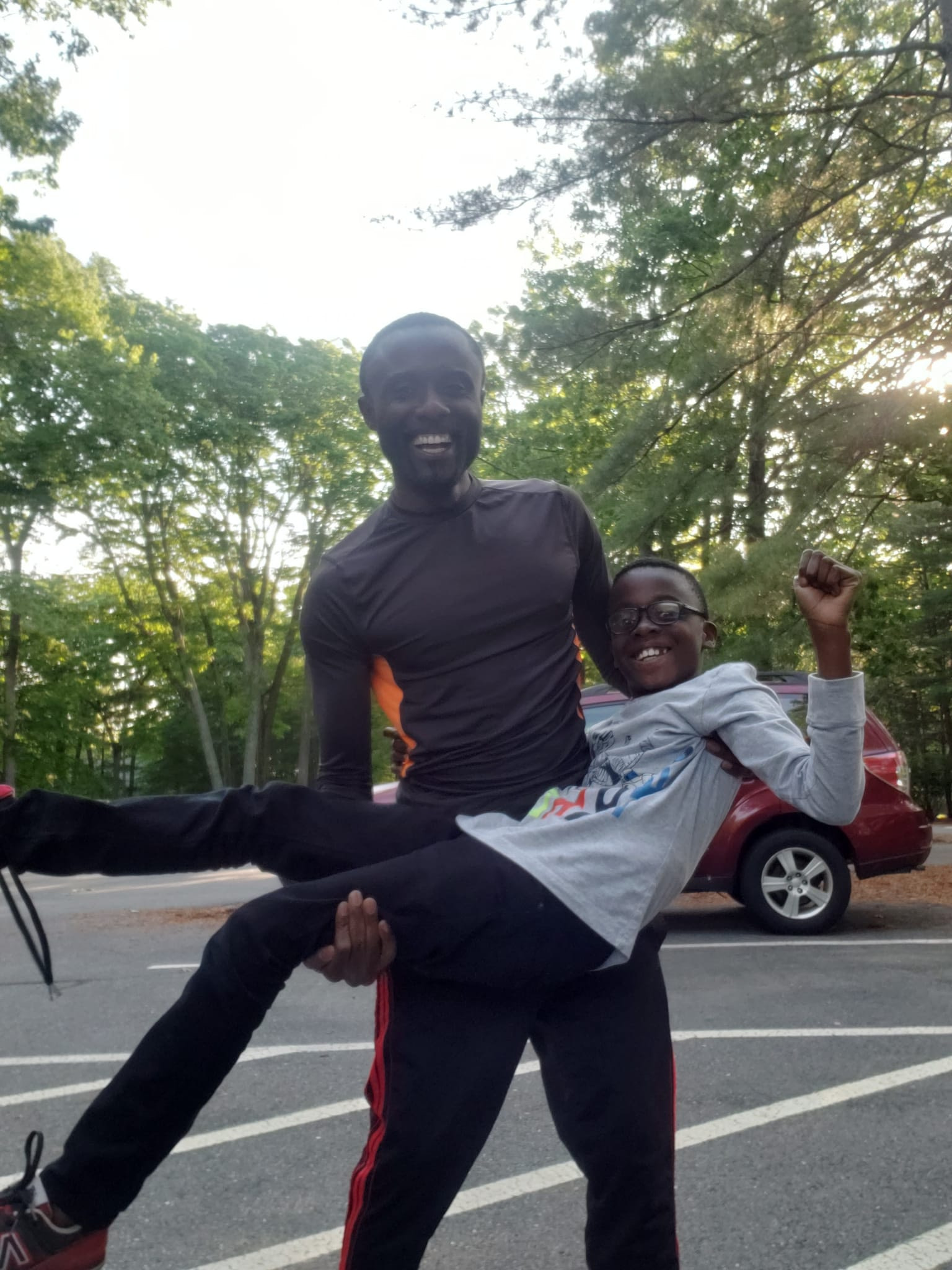 Daniel Amankwah with his son