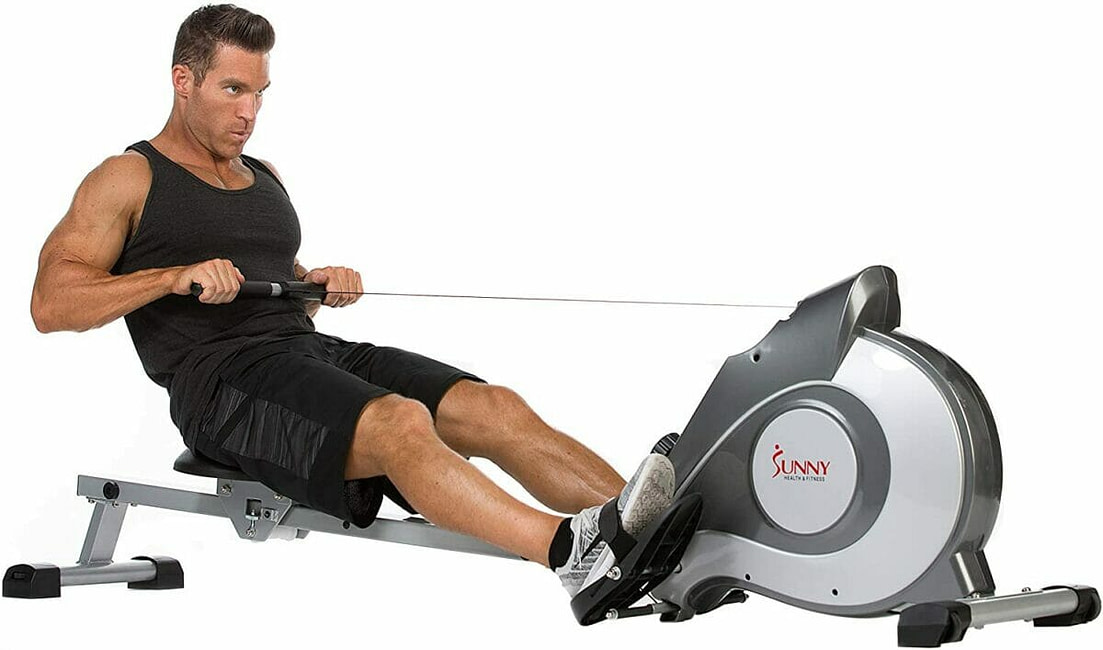 Sunny Health & Fitness Magnetic Rowing Machine Rower with LCD Monitor